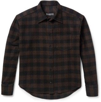 Balenciaga Brushed Wool-Blend Twill Overshirt $445 thestylecure.com