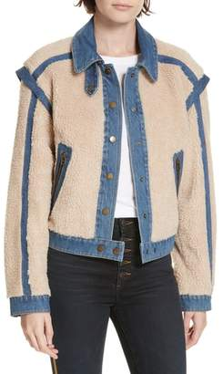 Veronica Beard Potter Fleece & Denim Jacket