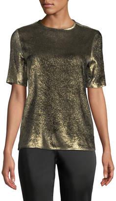 Etro Crewneck Short-Sleeve Metallic Woven Blouse