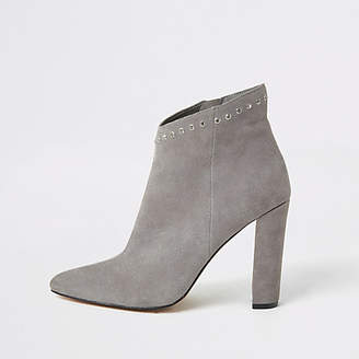 River Island Grey suede diamante top heeled ankle boots