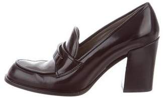 Prada Leather Rounded-Toe Pumps