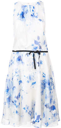 Monique Lhuillier printed belt dress