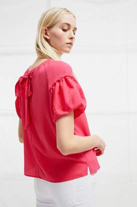 French Connenction Crepe Light Puff Sleeve Top