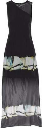 Halston Asymmetric Printed Silk-Chiffon Dress