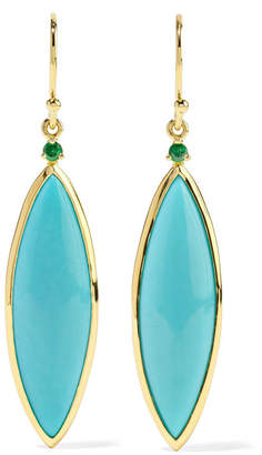 Prisma 18-karat Gold, Turquoise And Tsavorite Earrings - one size Ippolita