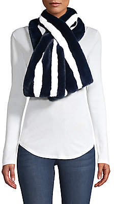 Saks Fifth Avenue Women's Striped Faux-Fur Pull-Through Scarf