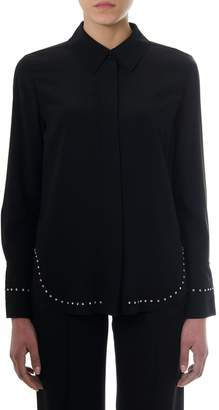 Chloé Black Crepe De Chine Embellished Blouse