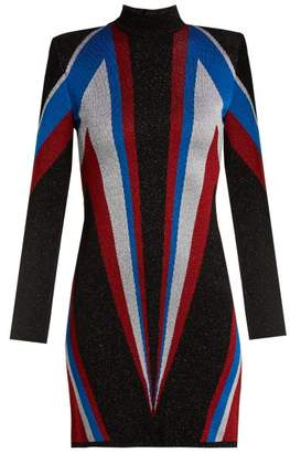 Balmain High Neck Knit Mini Dress - Womens - Black Multi