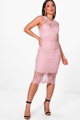 boohoo Boutique Lace Crochet Midi Dress