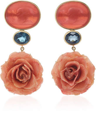 Bahina 18K Yellow Gold Coral Venetian Glass Cameos Earrings