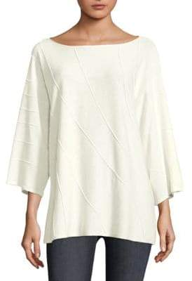 Lafayette 148 New York Wave Stitched Quarter-Sleeve Sweater