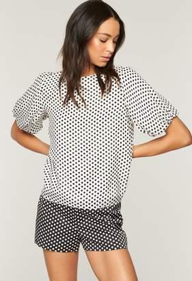 Milly Dot Print On Silk Ggt Melinda Top
