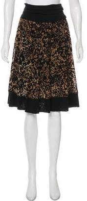 Fuzzi Velvet-Trimmed Knee-Length Skirt