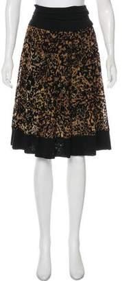 Fuzzi Velvet-Trimmed Knee-Length Skirt