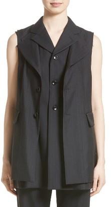 Women's Comme Des Garcons Tropical Wool Stripe Vest $1,320 thestylecure.com