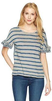 Lucky Brand Women's Mix Stripe Ruffle TEE