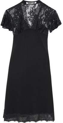 McQ Lace-Paneled Chiffon Dress