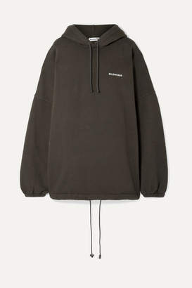 Balenciaga Oversized Embroidered Cotton-blend Fleece Hooded Top