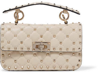 Valentino Garavani The Rockstud Spike Small Quilted Leather Shoulder Bag - Ivory