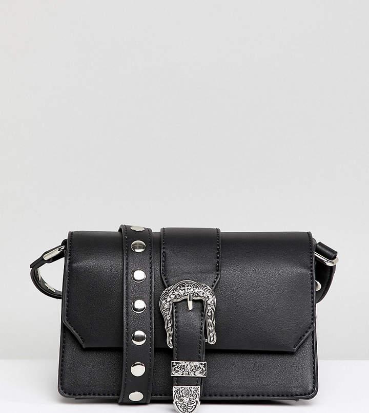 Glamorous Black Cross Body Bag With Western Buckle