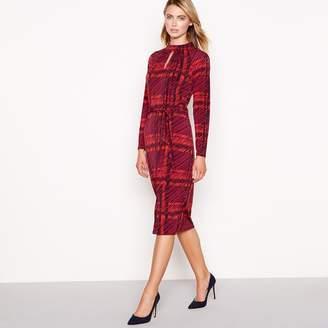 Principles Red Check Print Jersey High Neck Knee Length Dress