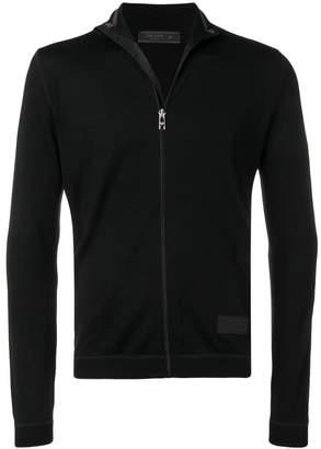 Prada logo patch zipped cardigan