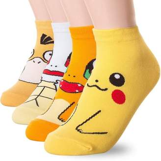 Pokemon YUMILY Womens Cotton-Blend Ankle Socks Anime Characters Socks,4 Pack