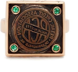 Francesca Villa Tell Me More emerald & rose-gold ring