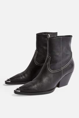 Topshop Womens Mario Western Boots - Black