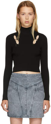 Versus Black Cut-Out Cropped Turtleneck