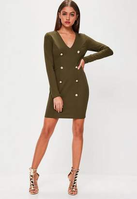 Missguided Button Front Long Sleeve Dress