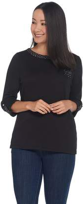 Factory Quacker Sparkle Neck Roll-Tab Cuff Knit Top with Front Pocket