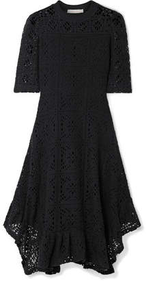 See by Chloe Asymmetric Laser-cut Jersey Dress - Black