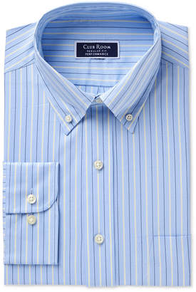 Club Room Men's Classic/Regular Fit Performance Pinpoint Double Stripe Dress Shirt, Created for Macy's