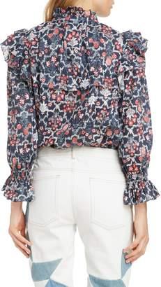 Etoile Isabel Marant Tedy Floral Print Linen Blouse