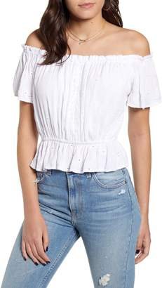 Angie Off the Shoulder Eyelet Top