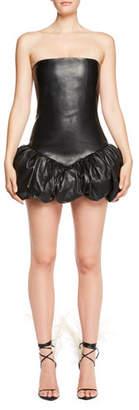 Saint Laurent Strapless Body-con Leather Dress with Bubble Hem