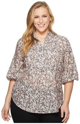 Lauren Ralph Lauren Plus Size Cotton-Silk Floral Tunic Top Women's Clothing
