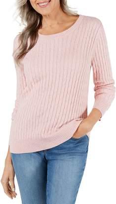 Karen Scott Petite Cable-Knit Cotton-Blend Sweater