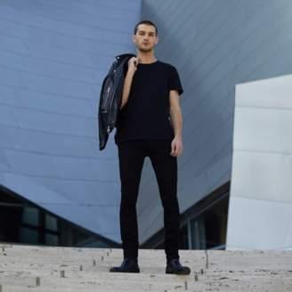 DSTLD Mens Skinny Jeans in Stretch Jet Black