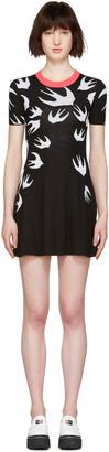McQ Alexander Mcqueen Black Wool Jacquard Swallows Dress $365 thestylecure.com