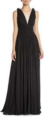 Murad Zuhair V-Neck Sleeveless Draped Silk Georgette Evening Gown
