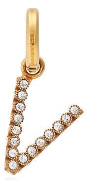 Burberry V Crystal Embellished Letter Charm - Womens - Crystal