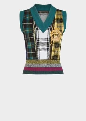 Versace Quilted Tartan Wool Vest