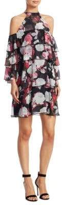 Scripted Floral-Print Cold Shoulder Shift Dress