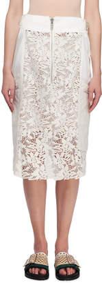 Sacai Zip-Detail Lace Midi Skirt