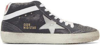 Golden Goose Grey Suede Mid Star Sneakers $480 thestylecure.com