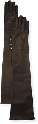 Portolano Button-Trim Napa Leather Gloves