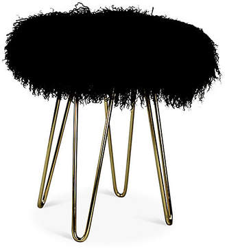 Le-Coterie Curly Hairpin Stool - Brass/Black