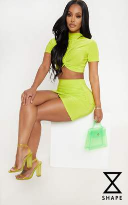 PrettyLittleThing Shape Neon Pink Snake Print Ruched Side Slit Bodycon Skirt